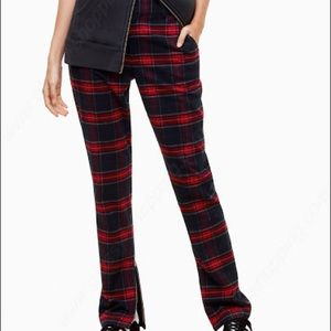 Golden by TNA Red Plaid Flannel Pants Zip Detail 4